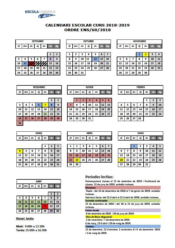 Calendari escolar 2018-19